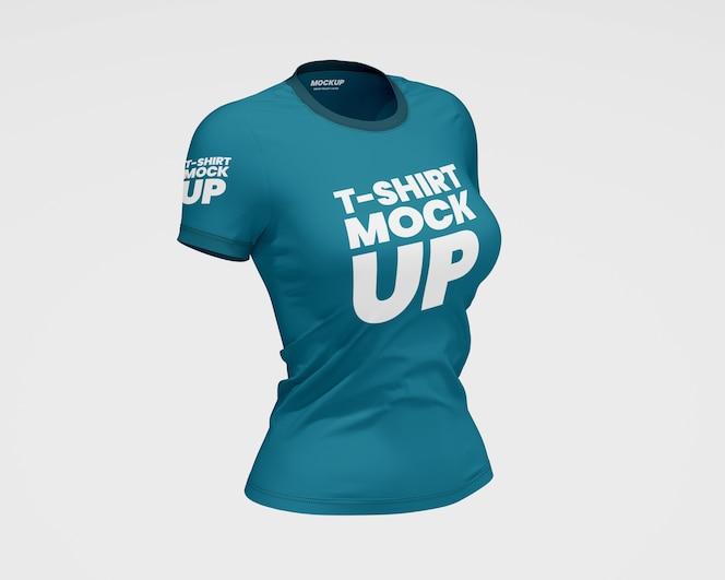 Maqueta de camiseta ajustada para mujer