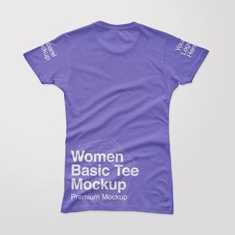 Maqueta de camiseta básica con espalda para mujer