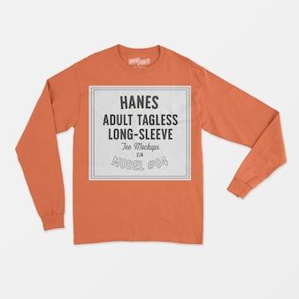 Maqueta de camiseta de manga larga sin etiqueta para adultos de hanes