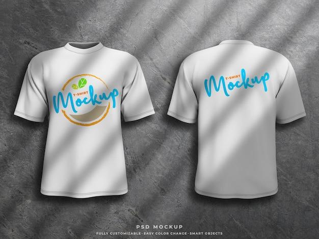 Maqueta de camiseta maqueta de impresión de pantalla en camiseta renderizada en 3d parte delantera y trasera de la camiseta