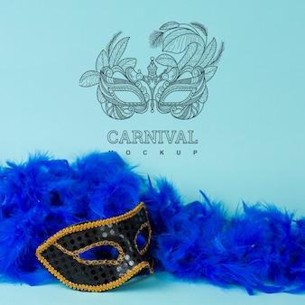 Maqueta de carnaval con imagen de máscara