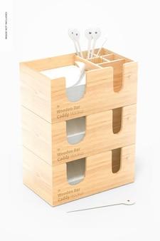 Maqueta de carritos de barra de madera