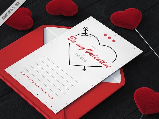 Maqueta de carta del día de san valentín