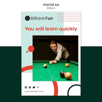 Maqueta de cartel de concepto de billar