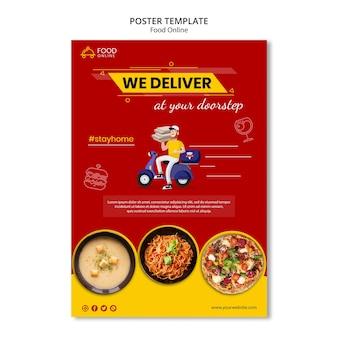 Maqueta de cartel de concepto de comida en línea