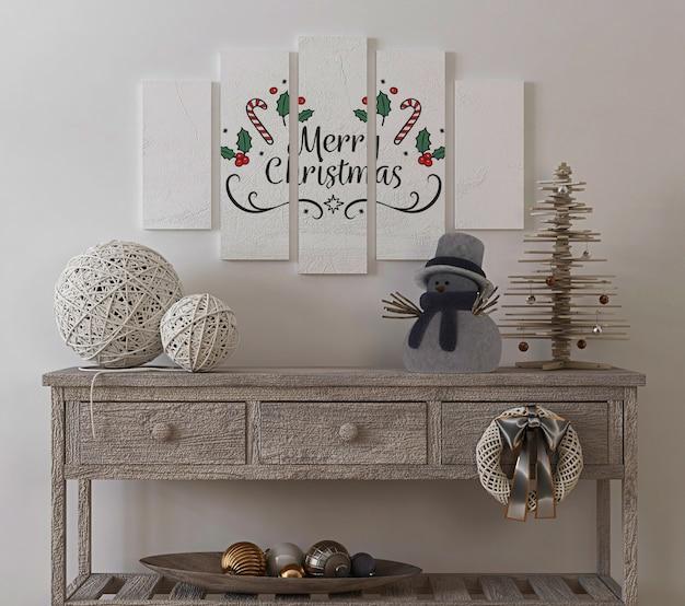 Maqueta de cartel en interior vintage con árbol de navidad y decoración