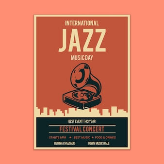 Maqueta de cartel de música jazz