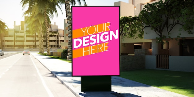 Maqueta de cartel de parada de autobús para publicidad.