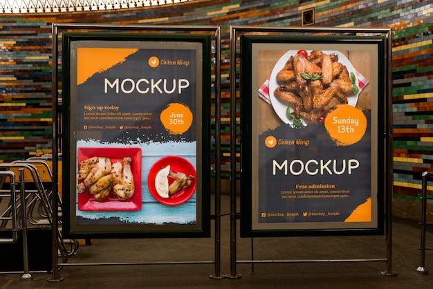 Maqueta de cartelera de comida de la ciudad
