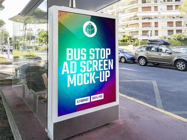 Maqueta de cartelera publicitaria de parada de autobús