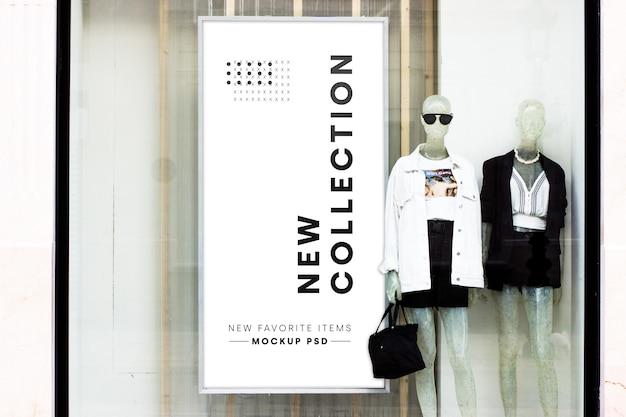 Maqueta de cartelera de tienda de moda