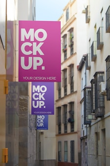Maqueta de carteles de calle tres diseños.