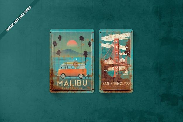 Maqueta de carteles vintage de hojalata