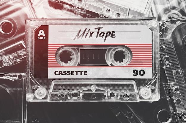 Maqueta de casete de cinta retro