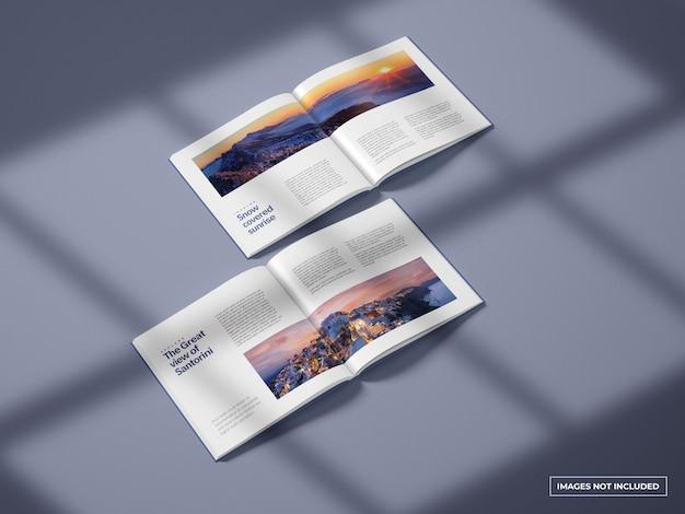 Maqueta de catálogos cuadrados abiertos