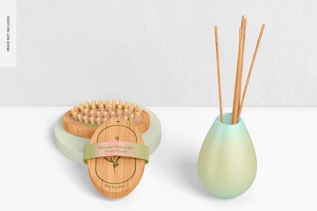 Maqueta de cepillos corporales de masajeador de madera, caídos e inclinados