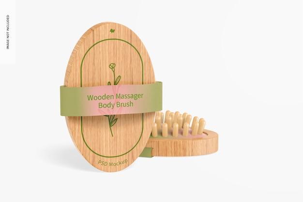 Maqueta de cepillos corporales de masajeador de madera