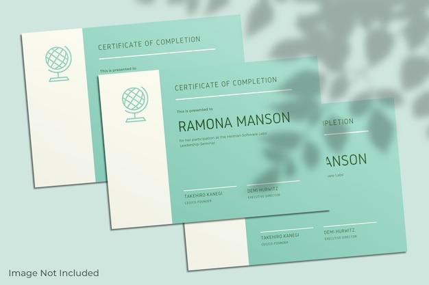 Maqueta de certificado elegante con sombra de hoja
