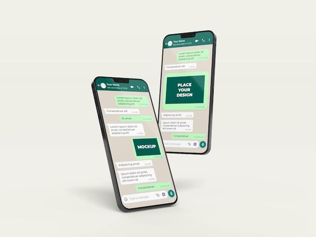 Maqueta de chat con disposición de dispositivos.