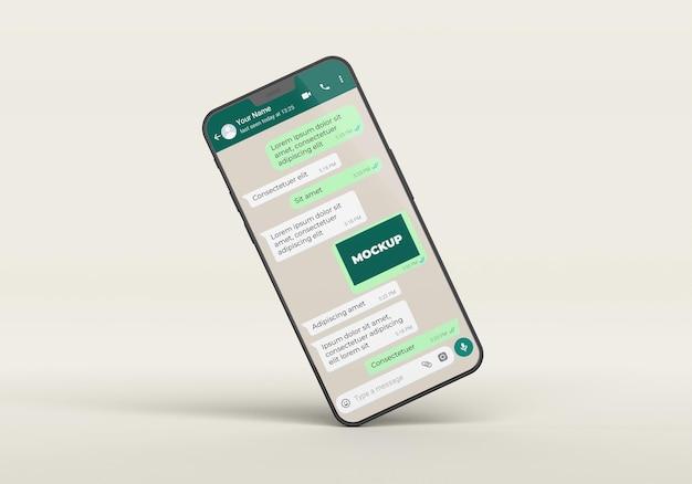Maqueta de chat con smartphone