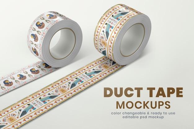Maqueta de cinta adhesiva estampada psd, diseño editable