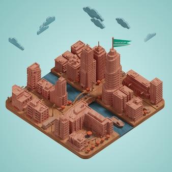 Maqueta de la ciudad en miniatura del edificio 3d