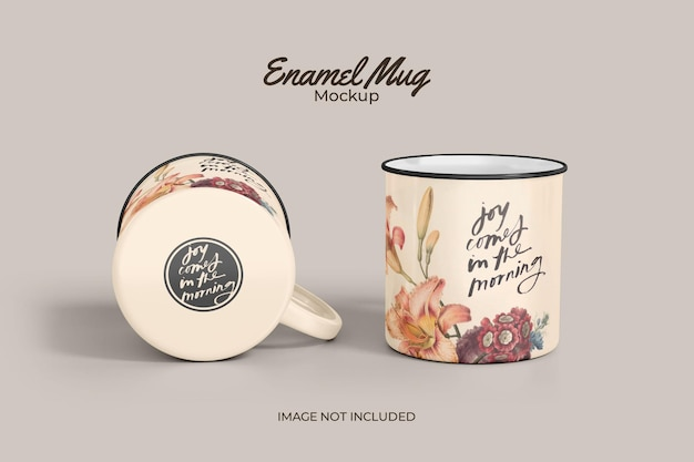 Maqueta clásica de taza de esmalte