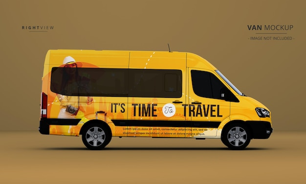 Maqueta de coche de furgoneta de lujo realista desde la vista lateral derecha