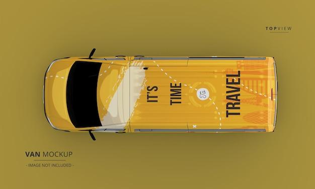 Maqueta de coche de furgoneta de lujo realista desde la vista superior