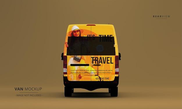Maqueta de coche de furgoneta de lujo realista desde la vista trasera