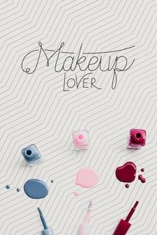 Maqueta colorida del concepto del maquillaje del esmalte de uñas