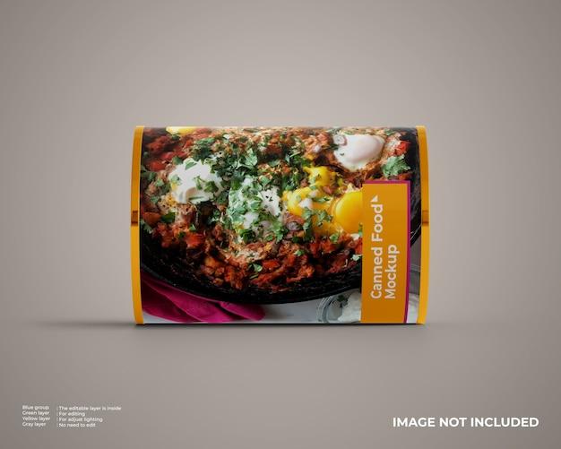 Maqueta de comida enlatada en posición horizontal.