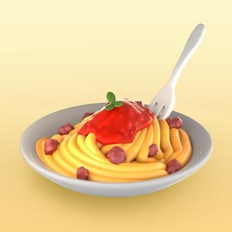 Maqueta de comida con espaguetis y salsa.