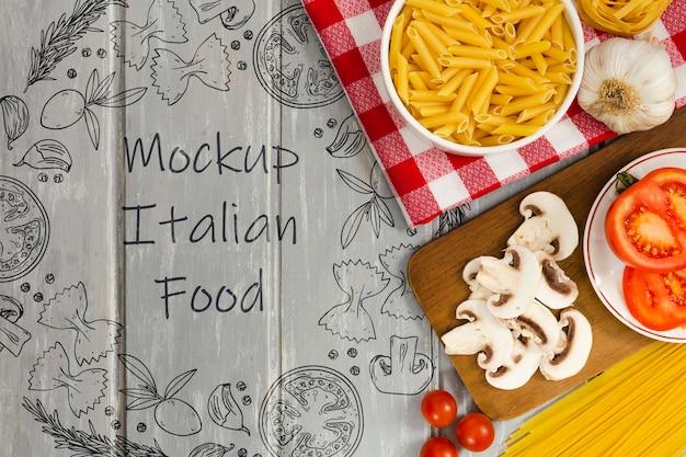 Maqueta de comida italiana con deliciosos ingredientes.