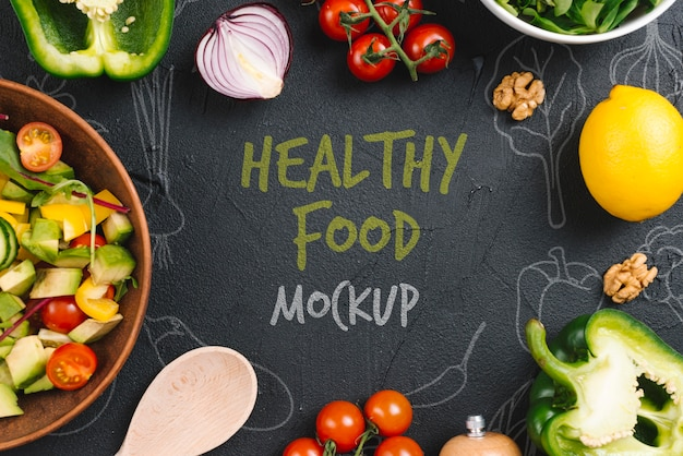 Maqueta de comida vegana saludable