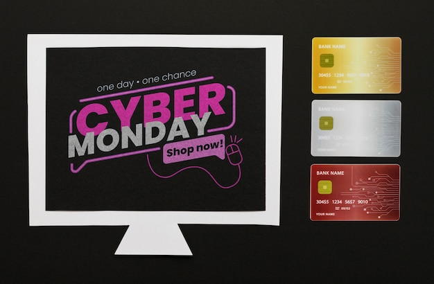 Maqueta de computadora del concepto de ciber lunes