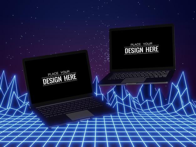 Maqueta de computadora portátil con pantalla en blanco sobre fondo moderno