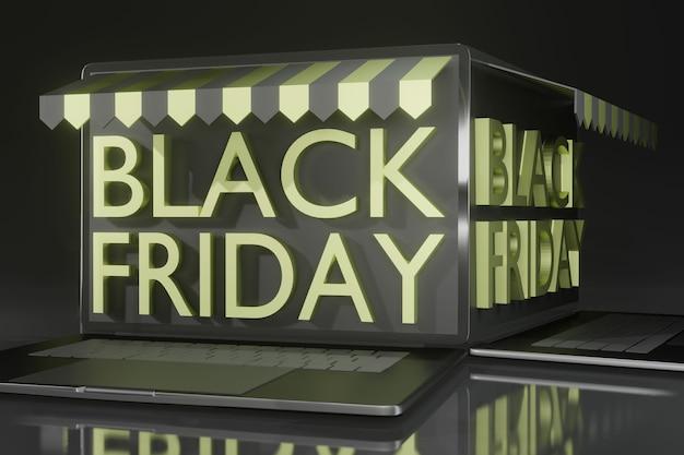 Maqueta de computadora portátil de renderizado 3d para promoción de viernes negro tema de compras en línea