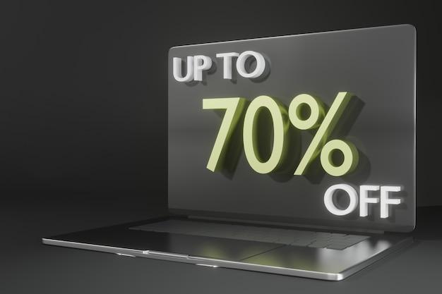 Maqueta de computadora portátil de renderizado 3d para promoción de viernes negro tema de compras en línea PSD Premium