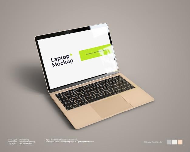 La maqueta de la computadora portátil se ve en la vista superior izquierda