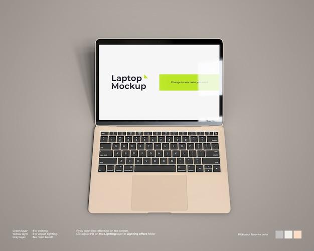 Maqueta para computadora portátil con vista frontal superior