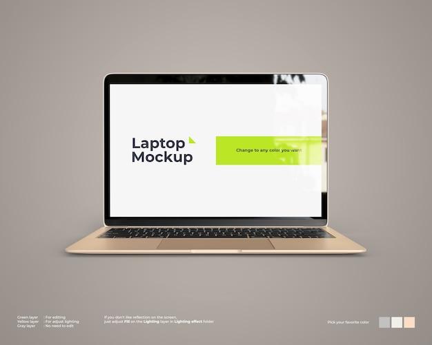 Maqueta para computadora portátil con vista frontal