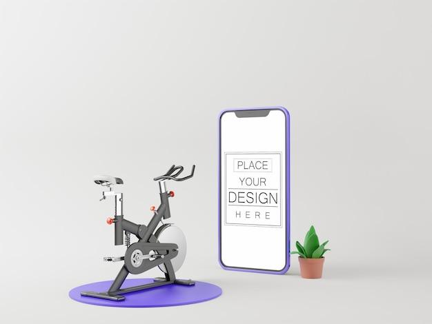Maqueta de computadora de teléfono inteligente de pantalla en blanco. concepto de gimnasio