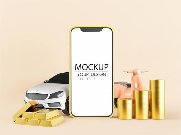 Maqueta de computadora de teléfono inteligente de pantalla en blanco para concepto de riqueza