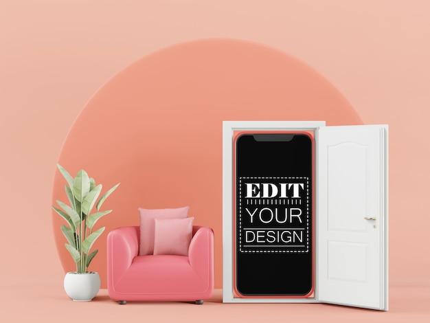 Maqueta de computadora de teléfono inteligente con pantalla en blanco para diseño de interiores