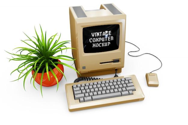 Maqueta de la computadora de la vendimia aislado