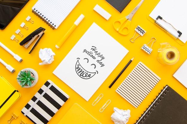 Maqueta de concepto amarillo hermoso