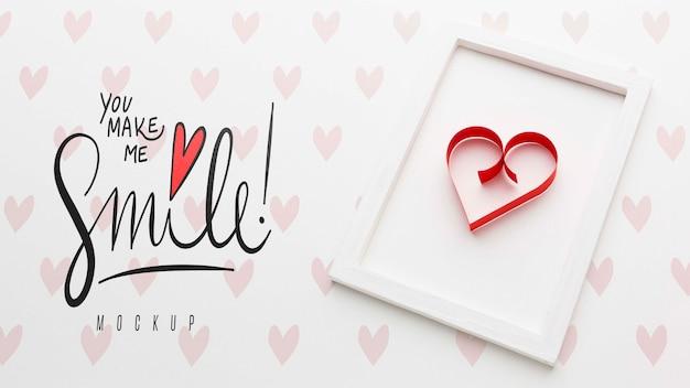 Maqueta de concepto de amor con marco