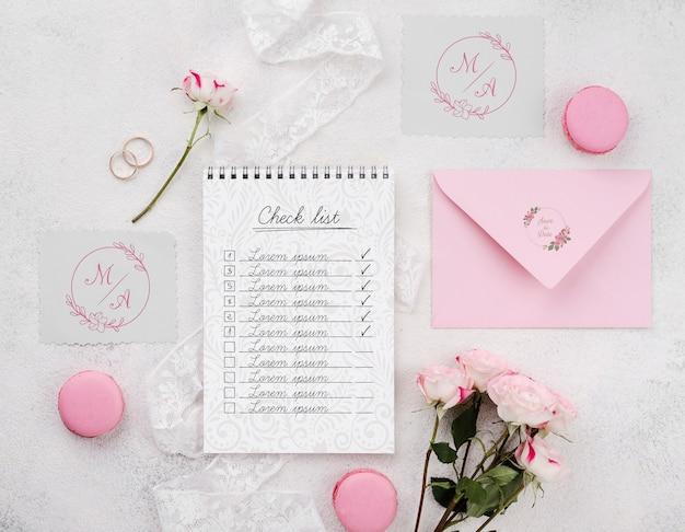Maqueta de concepto de boda con macarons
