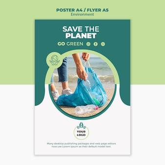 Maqueta de concepto de cartel de medio ambiente